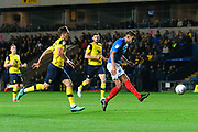 Gareth Evans (26) of Portsmouth shoots at goal during the Leasing.com EFL Trophy match between Oxford United and Portsmouth at the Kassam Stadium, Oxford, England on 8 October 2019.