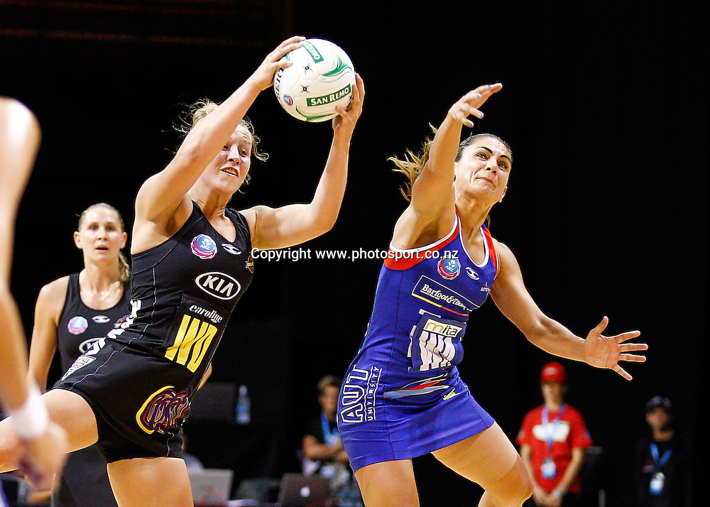 Waikato BOP Magic's Jamie-Lee Price and Northern Mystic's Temepara Bailey in action during the ANZ Championship netball match - Waikato BOP Magic v Northern Mystics at Claudelands Arena, Hamilton, New Zealand on Saturday 20 April 2014.  Photo:  Bruce Lim / www.photosport.co.nz