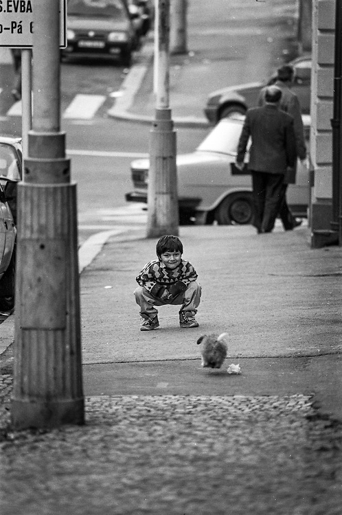 Little boy watching his dog in the streets of Zizkov.