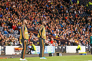 Belgium Substitutes Christian Benteke (Crystal Palace) & Michy Batshuayi (Chelsea) look on as their side put Scotland under pressure during the UEFA European 2020 Qualifier match between Scotland and Belgium at Hampden Park, Glasgow, United Kingdom on 9 September 2019.