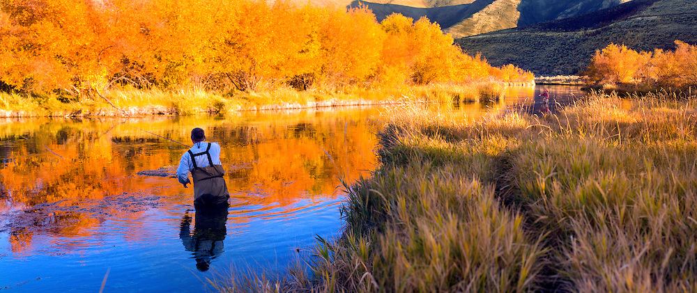 Flyfishing Silver Creek, Idaho, autumn