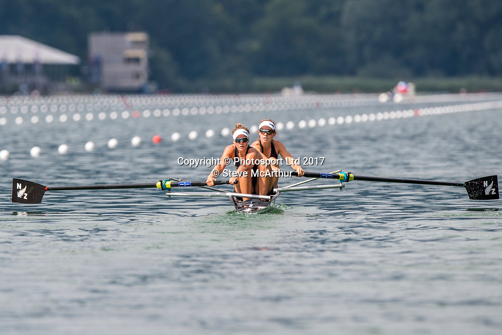 Jackie Gowler (Aramoho Wanganui RC) and Kirstyn Goodger (Wairau RC) NZ Womens Coxless Pair racing the qualification heat at WCIII on the Rotsee, Lucerne, Switzerland, Friday 7th July 2017 © Copyright Steve McArthur / www.photosport.nz