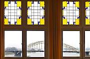 Nederland, Nijmegen, 19-2-2013De Waalbrug gezien door een glas in lood raam, glas-in-loodFoto: Flip Franssen/Hollandse Hoogte