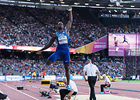 Athletics - 2017 IAAF London World Athletics Championships - Day One<br /> <br /> Event: Men's Long Jump Qualifying <br /> <br /> Jeff Henderson (USA leaps into the pit<br /> <br /> <br /> COLORSPORT/DANIEL BEARHAM