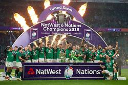 Ireland celebrate being crowned 6 Nations Grand Slam Champions - Mandatory byline: Patrick Khachfe/JMP - 07966 386802 - 17/03/2018 - RUGBY UNION - Twickenham Stadium - London, England - England v Ireland - Natwest 6 Nations