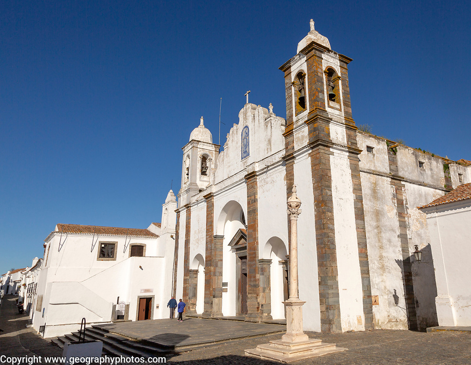 Historic church inside the walled hilltop village of Monsaraz, Alto Alentejo, Portugal, southern Europe