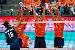 11-08-2019 NED: FIVB Tokyo Volleyball Qualification 2019 / Netherlands - USA, Rotterdam<br /> Final match pool B in hall Ahoy between Netherlands vs. United States (1-3) and Olympic ticket  for USA / Garrett Muagututia #18 of USA, Nimir Abdelaziz #14 of Netherlands, Luuc van der Ent #5 of Netherlands, Thijs Ter Horst #4 of Netherlands