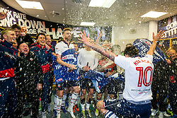 Free to use courtesy of Sky Bet - Jem Karacan runs in as Bolton Wanderers celebrate in the dressing room after finishing the season as Sky Bet League One runners up to secure automatic Promotion to the 2017/18 Sky Bet Championship - Rogan Thomson/JMP - 30/04/2017 - FOOTBALL - Macron Stadium - Bolton, England - Bolton Wanderers v Peterborough United - EFL Sky Bet League One.