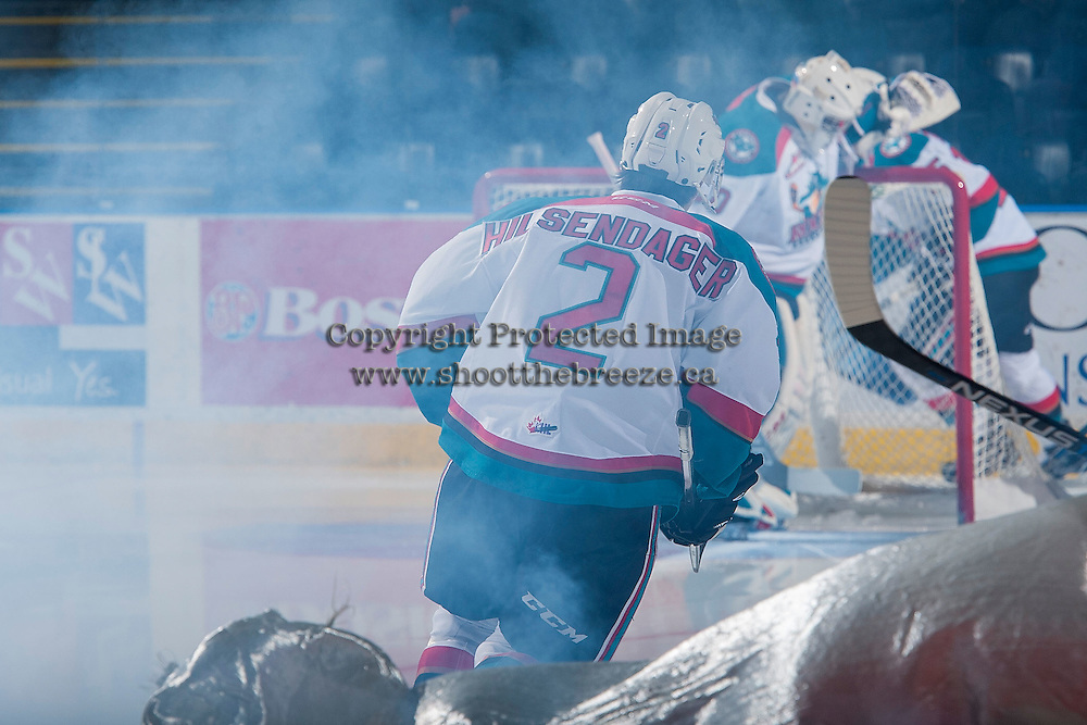 KELOWNA, CANADA - JANUARY 4: James Hilsendager #2 of the Kelowna Rockets enters the ice against the Spokane Chiefs on January 4, 2017 at Prospera Place in Kelowna, British Columbia, Canada.  (Photo by Marissa Baecker/Shoot the Breeze)  *** Local Caption ***