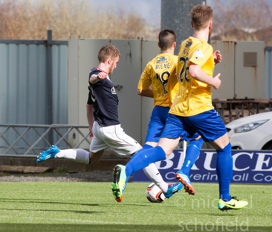 Falkirk's Craig Sibbald scoring their fourth goal.<br /> Falkirk 5 v 0 Cowdenbeath, Scottish Championship game played today at The Falkirk Stadium.<br /> &copy; Michael Schofield.