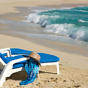Beach chairs with hat. Cabo Real. Los Cabos, BCS.