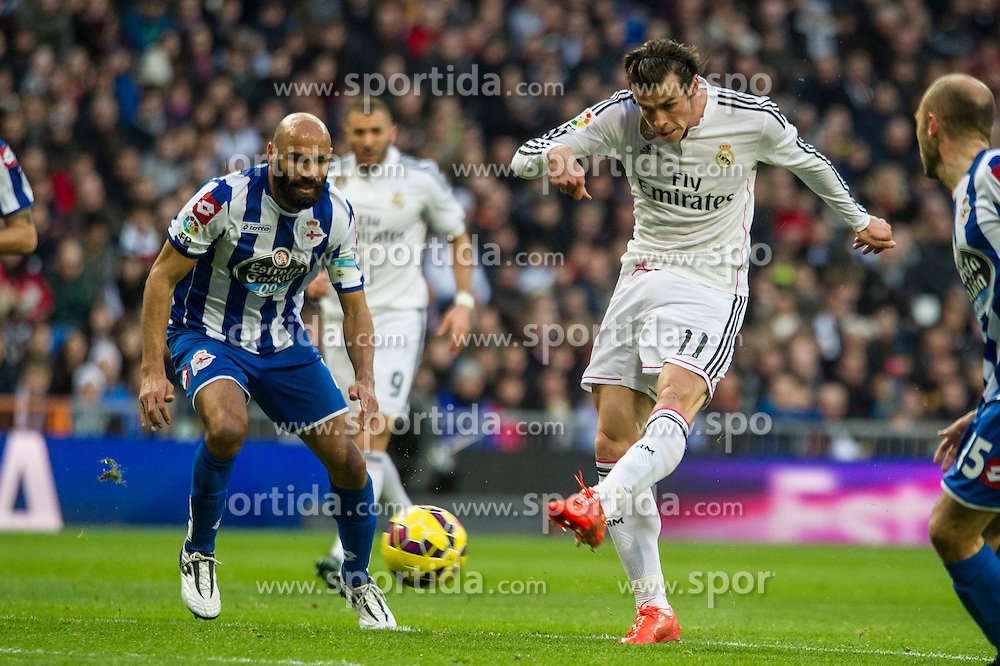 14.02.2015, Estadio Santiago Bernabeu, Madrid, ESP, Primera Division, Real Madrid vs Deportivo La Coruna, 23. Runde, im Bild Real Madrid&acute;s Gareth Bale and Deportivo de la Coruna's Manuel Pablo // during the Spanish Primera Division 23rd round match between Real Madrid vs Deportivo La Coruna at the Estadio Santiago Bernabeu in Madrid, Spain on 2015/02/14. EXPA Pictures &copy; 2015, PhotoCredit: EXPA/ Alterphotos/ Luis Fernandez<br /> <br /> *****ATTENTION - OUT of ESP, SUI*****