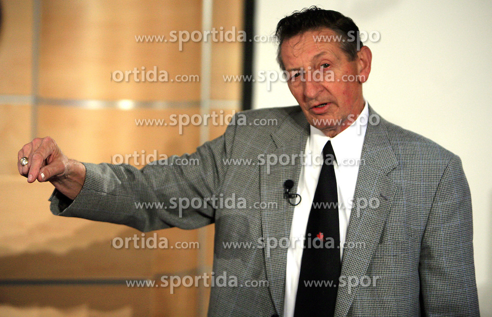 """Walter Gretzky, father of Canadian Wayne Douglas Gretzky, retired professional  ice-hockey player, named """"The great one"""", the greatest player of all time, at press conference where he talked about himself and his son,  at IIHF WC 2008 in Halifax, on May 08, 2008 in  World Trade Centre, Halifax, Nova Scotia, Canada. (Photo by Vid Ponikvar / Sportal Images)"""