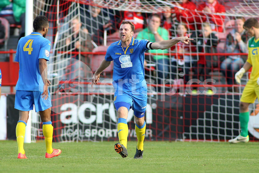 Basingstoke skipper Jay Gasson rallies his team uring the FA Cup 3Q match between Ebbsfleet United v Basingstoke Town, Stonebridge Road, Northfleet, Kent DA11 9GN on 11 October 2014. Photo by Ken Sparks.