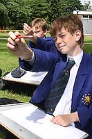 Art class, outside. Hockerill Anglo-European College,international boarding school, Bishop's Stortford.