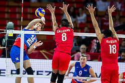 06.09.2014, Jahrhunderthalle, Breslau, POL, Venezuela vs Serbien, Gruppe A, im Bild Serbia, Aleksandar Atanasijevic (SRB), Hector Salerno (VEN), Fredy Ramon Cedeno Marquez (VEN) // during the FIVB Volleyball Men's World Championships Pool A Match beween Uenezuela and Serbia at the Jahrhunderthalle in Breslau, Poland on 2014/09/06. EXPA Pictures © 2014, PhotoCredit: EXPA/ Newspix/ Lukasz Skwiot<br /> <br /> *****ATTENTION - for AUT, SLO, CRO, SRB, BIH, MAZ, TUR, SUI, SWE only*****
