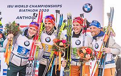 22.02.2020, Suedtirol Arena, Antholz, ITA, IBU Weltmeisterschaften Biathlon, Herren, 4 x 7,5 km Staffel, Flower Zeremonie, im Bild v.l. Benedikt Doll (GER), Arnd Peiffer (GER), Philipp Horn (GER), Erik Lesser (GER) // f.l. Benedikt Doll Arnd Peiffer Philipp Horn and Erik Lesser of Germany during the Flowers ceremony for the men's 4 x 7,5 km Relay of IBU Biathlon World Championships 2020 at the Suedtirol Arena in Antholz, Italy on 2020/02/22. EXPA Pictures © 2020, PhotoCredit: EXPA/ Stefan Adelsberger