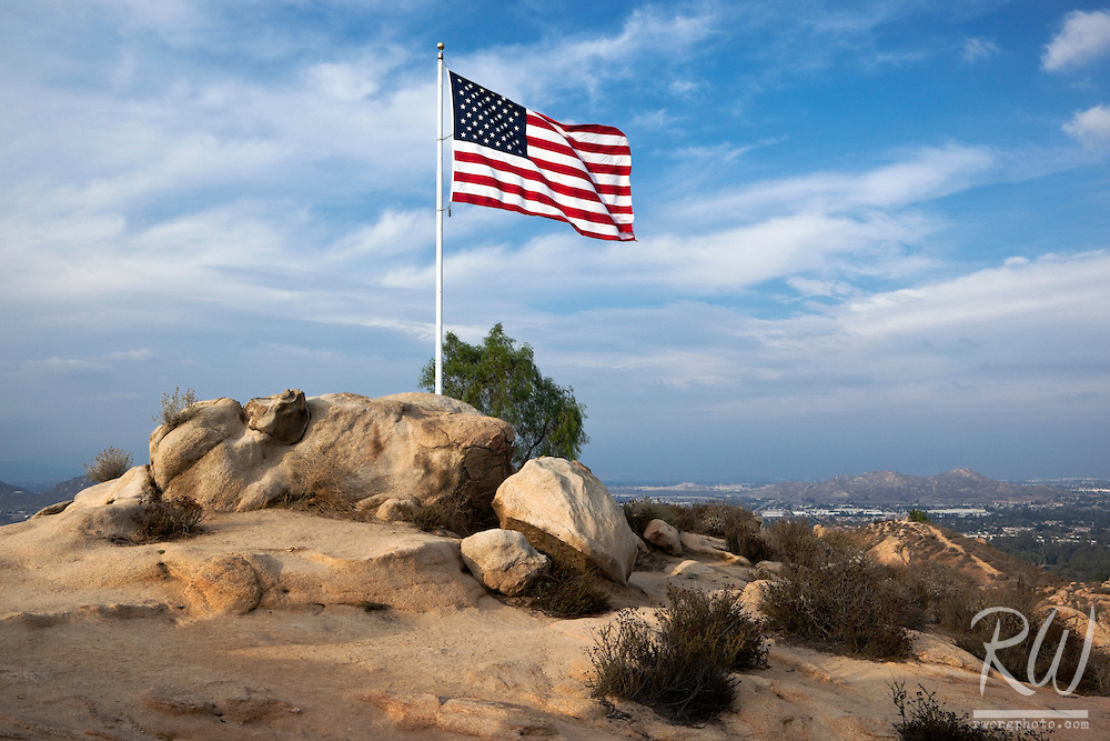 American Flag Atop Mount Rubidoux, Riverside, California