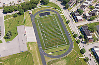 AstroTurf field aerial Image of Frederick Douglass High School in Baltimore City by Jeffrey Sauers of Commercial Photographics, Architectural Photo Artistry in Washington DC, Virginia to Florida and PA to New England