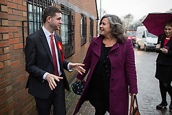 © Licensed to London News Pictures . 01/12/2015 . Oldham , UK . Labour Shadow Health Secretary HEIDI ALEXANDER (r) and candidate JIM MCMAHON at Royton Medical Centre in Oldham , as part of Labour's campaign for the seat of Oldham West and Royton , following the death of sitting MP Michael Meacher . Photo credit : Joel Goodman/LNP