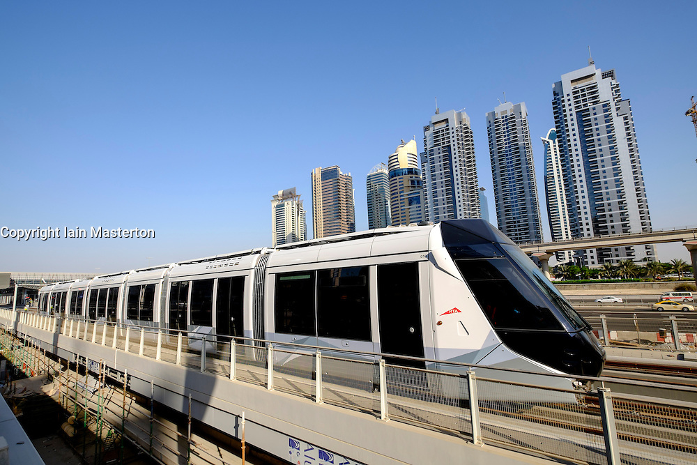 New public Tram in Dubai United Arab Emirates