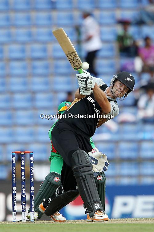 James Franklin knocks Shakib Al Hassan for four during the ICC World Twenty20 Pool match between New Zealand and Bangladesh held at the  Pallekele Stadium in Kandy, Sri Lanka on the 21st September 2012<br /> <br /> Photo byRon Gaunt/SPORTZPICS/PHOTOSPORT
