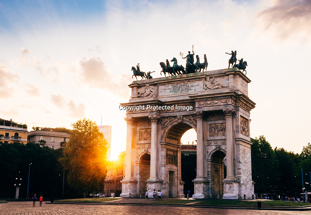 Arco Della Pace (Peace Arch) in Milan, Italy at sunset
