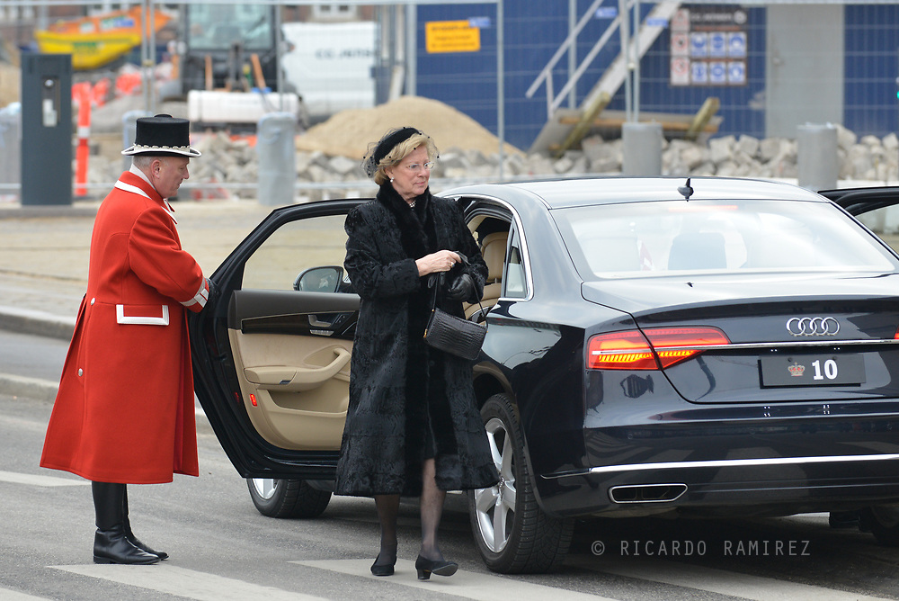 20.02.2018. Copenhagen, Denmark. <br /> Princess Anne Marie's arrival to Christiansborg Palace Church. <br /> Photo: Ricardo Ramirez.
