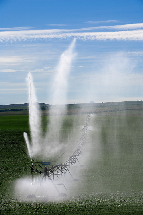 Sprinkler pivot irrigating the rolling farmland of Eastern Idaho near Tetonia.