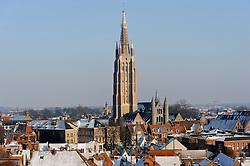 The Church of Our Lady, seen from the rooftop terrace of the Sound Factory interactive museum, housed in the Concertgebouw  (Concert Hall) building, at 't Zand 34 ; 32-70-22-33-02 ; sound-factory.be. (Photo © Jock Fistick)