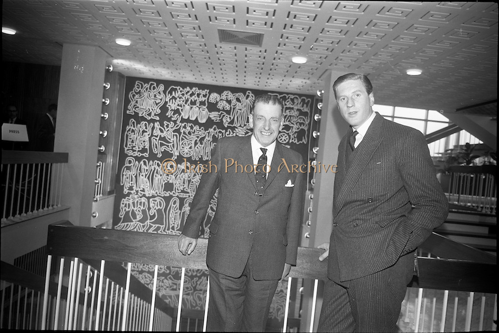 01/06/1964<br /> 06/01/1964<br /> 01 June 1964<br /> Opening of new Marketing Headquarters of P.J. Carroll and Company Ltd. at Grand Parade on the Grand Canal, Dublin. The premises were officially opened by Taoiseach Sean Lemass. Picture shows Sean Lemass unveiling the tapestry, &quot;Brendan the Navigator&quot; in the new building. Mr. Don Carroll, Chairman of P.J. Carroll and Co. Ltd. is also in the picture on right.