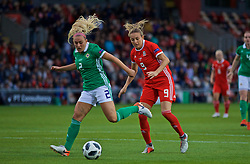 NEWPORT, WALES - Tuesday, September 3, 2019: Wales' Kayleigh Green (R) and Northern Ireland's Rachel Newborough during the UEFA Women Euro 2021 Qualifying Group C match between Wales and Northern Ireland at Rodney Parade. (Pic by David Rawcliffe/Propaganda)