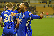 Birmingham City midfielder David Davis (26) celebrates towards the Wolves fans at full time 1-2 during the EFL Sky Bet Championship match between Wolverhampton Wanderers and Birmingham City at Molineux, Wolverhampton, England on 24 February 2017. Photo by Alan Franklin.