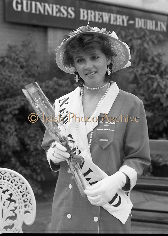 Roses of Tralee at Guinness Brewery..1986.20.08.1986..08.20.1986..20th August 1986..As part of the 50th running of the Rose Of Tralee Festival the thirty Rose contestants were invited to The Guinness Brewery,St James's Gate,Dublin. At the reception in their honour, Mr Pat Healy,Sales Director,Guinness Group Sales,welcomed the roses at the Guinness Reception Centre..Extra: Ms Noreen Cassidy,representing Leeds,went on to win the title of 'Rose Of Tralee'...New Zealands' Bronagh Moloney poses for pictures at the Guinness reception.