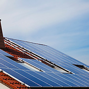 Photovoltaic solar panels mounted on the roof of a German house.<br /> <br /> LICENSING: This image can only be licensed through SpacesImages. Click on the link below:<br /> <br /> http://tinyurl.com/d5oywv7