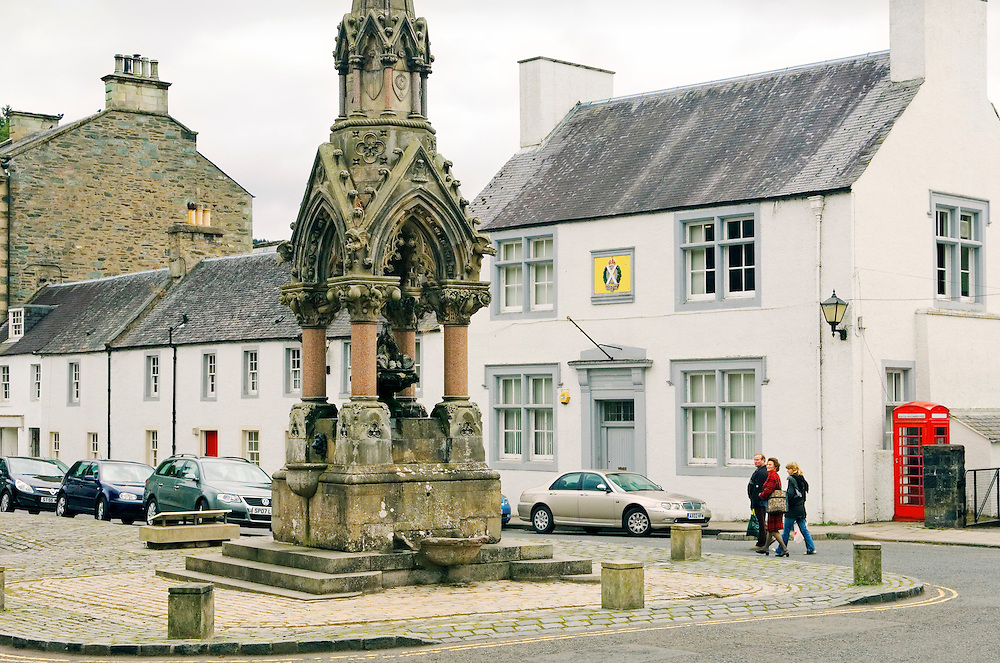 Atholl Memorial Fountain built 1866 honours George Murray. Sited in The Cross, centre of ancient Dunkeld town, Tayside, Scotland