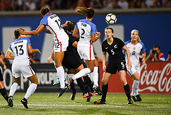 September 19, 2017 - Cincinnati, OH, USA - Cincinnati, OH - Tuesday September 19, 2017: Alex Morgan, Lynn Williams, Mallory Pugh during an International friendly match between the women's National teams of the United States (USA) and New Zealand (NZL) at Nippert Stadium. (Credit Image: © Brad Smith/ISIPhotos via ZUMA Wire)