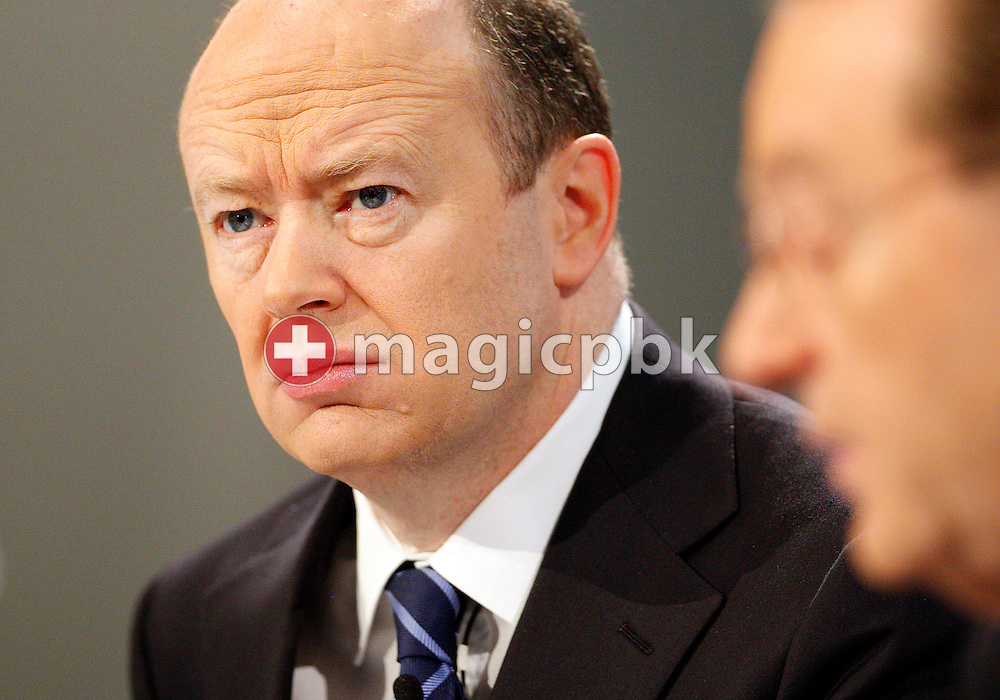 Oswald J. Gruebel (R), CEO of Swiss Bank UBS, and John Cryan, CFO of Swiss Bank UBS, are pictured during a press conference on the fourth quarter and full-year results 2009 in Zurich,  Switzerland, Tuesday, Feburary 9, 2010. (Photo by Patrick B. Kraemer / MAGICPBK)