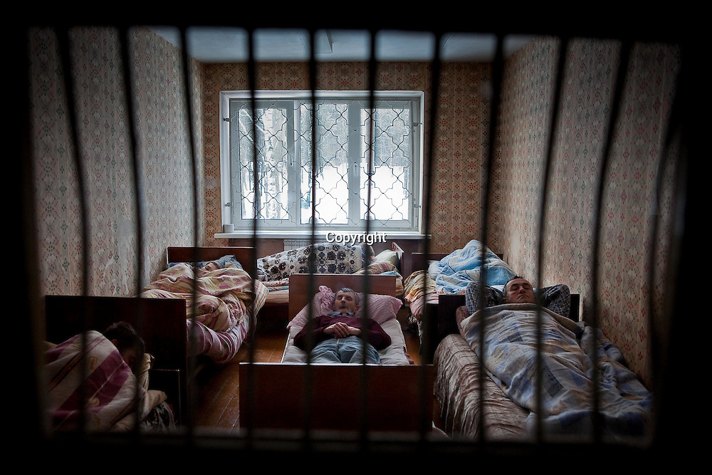 Patients in an adult mental asylum in the Mogliev region of Belarus. Chernobyl's human costs are widespread affecting about seven million people.A generation later children are being born with birth defects ,heart problems and thyroid cancer.The crippled economy of Belarus has led to poverty, social problems and domestic abuse.<br /> Photograph by Eamon Ward