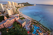 USA, Hawaii, Oahu, Honolulu, Waikiki, Sheraton Waikiki view to Diamond Head, looking at The Royal Hawaiian, a Luxury Collection Resort