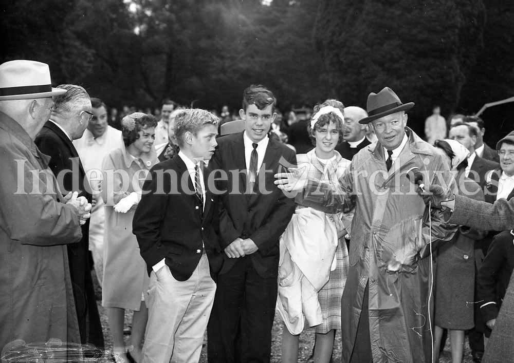 President Eisenhower at Mr S T O'Kelly residence Roundwood Co Wicklow , 23/08/1962.<br />  R3306 <br /> (Part of the Independent Newspapers Ireland/NLI Collection).