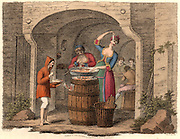 Neopolitans Eating Macaroni'.  A typical country village Maccaronara near Naples, Italy, which would serve macaroni dressed with Parmesan cheese and a little salt.   Hand coloured lithograph from 'Italian Scenery, Manners and Customs' by Buon Airetti (London, 1806).