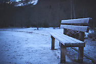 Lone cold bench at Ordesa y Monte Perdido National Park in Spain