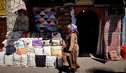 berber carpets and cushions for sale  in the medina, Marrakech, Morocco, North Africa<br /> <br /> (c) Andrew Wilson | Edinburgh Elite media