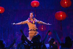 """© Licensed to London News Pictures. 16/10/2013. London, England. Pictured: Robert Lonsdale, centre. The Musical """"From Here to Eternity"""" opens at the Shaftesbury Theatre on 23 October 2013 starring Darius Campbell, Siubhan Harrison, Robert Lonsdale and Rebecca Thornhill. This brand new musical is directed by Tamara Harvey and lyrics by Tim Rice, music by Stuart Brayson and script by Bill Oakes. Photo credit: Bettina Strenske/LNP"""