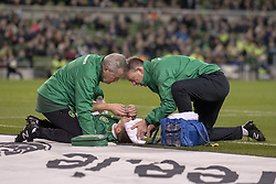 November 15, 2018 - Dublin, Ireland - The medical team helps Seamus Coleman of Ireland during the International Friendly match between Republic of Ireland and Northern Ireland at Aviva Stadium in Dublin, Ireland on November 15, 2018  (Credit Image: © Andrew Surma/NurPhoto via ZUMA Press)