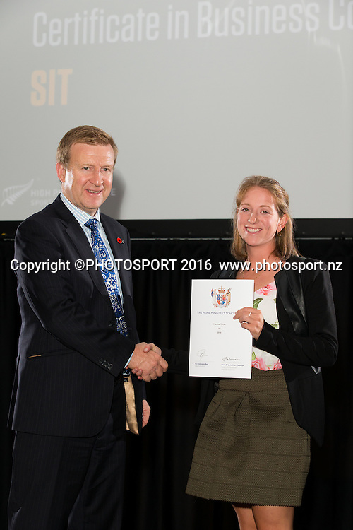Hon. Jonathan Coleman presents certificate to Rowing Francie Turner at the High Performance Sport NZ Waikato ceremony for the Prime Minister's Scholarship Awards, at Sir Don Rowlands Centre, Lake Karapiro, Cambridge, New Zealand, 20 April 2016. Copyright Photo: Stephen Barker / www.photosport.nz