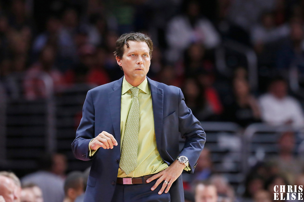 17 October 2014: Utah Jazz head coach Quin Snyder is seen during the Los Angeles Clippers 101-97 victory over the Utah Jazz, in a preseason game, at the Staples Center, Los Angeles, California, USA.