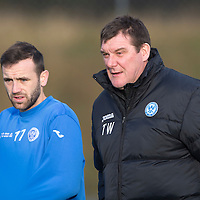 St Johnstone Training...12.12.14<br /> James McFadden pictured with manager Tommy Wright ahead of tomorrow's game at Kilmarnock<br /> Picture by Graeme Hart.<br /> Copyright Perthshire Picture Agency<br /> Tel: 01738 623350  Mobile: 07990 594431