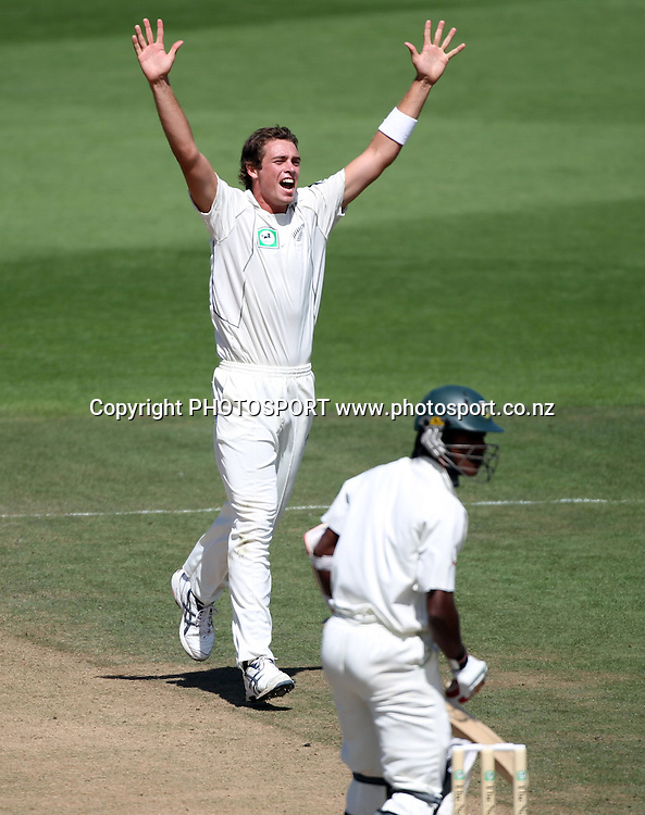 Tim Southee celebrates as he raps up the match with the wicket of Bangaladesh's Rubel Hossain.<br />Day 5. Test match cricket. One off test.<br />New Zealand Black Caps versus Bangladesh.<br />Seddon Park, Hamilton, New Zealand.<br />Friday 19 February 2010.<br />Photo: Andrew Cornaga/PHOTOSPORT
